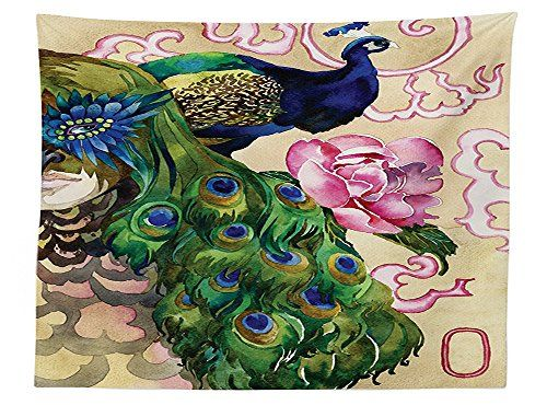 vipsung Peacock Decorations Tablecloth King of a Peacock Glamorous Wing and Floral Design Dining Room Kitchen Rectangular Table Cover