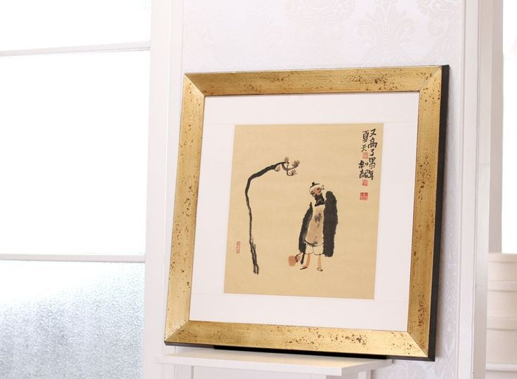 Chinese Ink painting framed in a golden vintage frame by BologniArreda