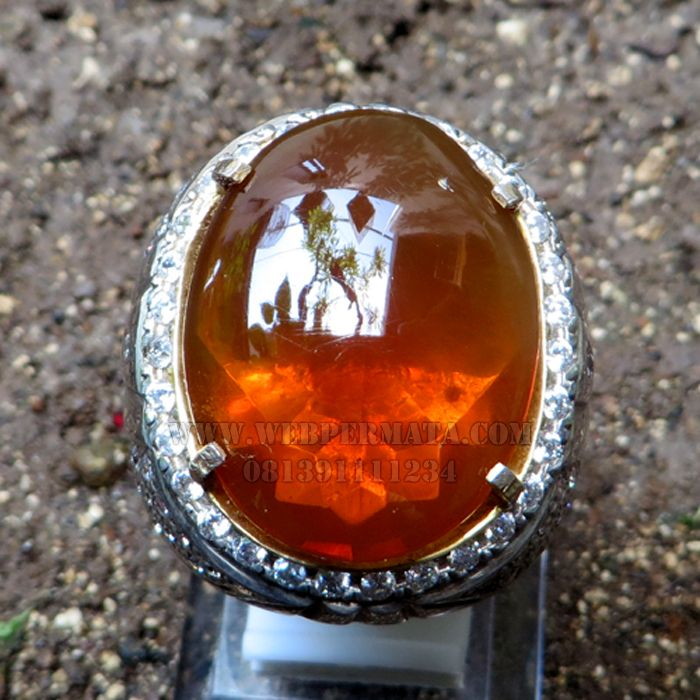 Cincin Batu Fire Opal Orange