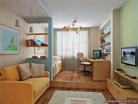 Интерьер детской и гостиной в одной комнате
