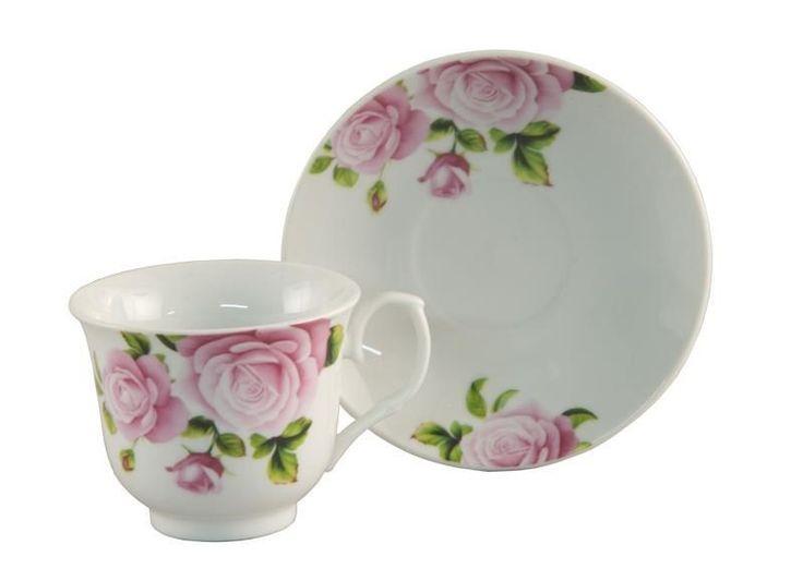 6 Pink Rose Bulk Porcelain Inexpensive Teacups (Tea Cups) & Saucers
