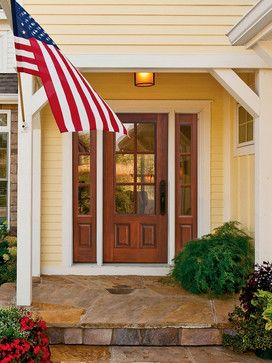 2 Panel 6 Lite Fiberglass Exterior Front Door with Sidelites Tall 80 traditional front doors