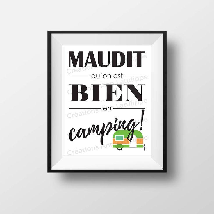 Affiche imprimable Maudit qu'on est bien en camping 8x10, Camping printable poster, wall art decoration caravan roulotte à imprimer