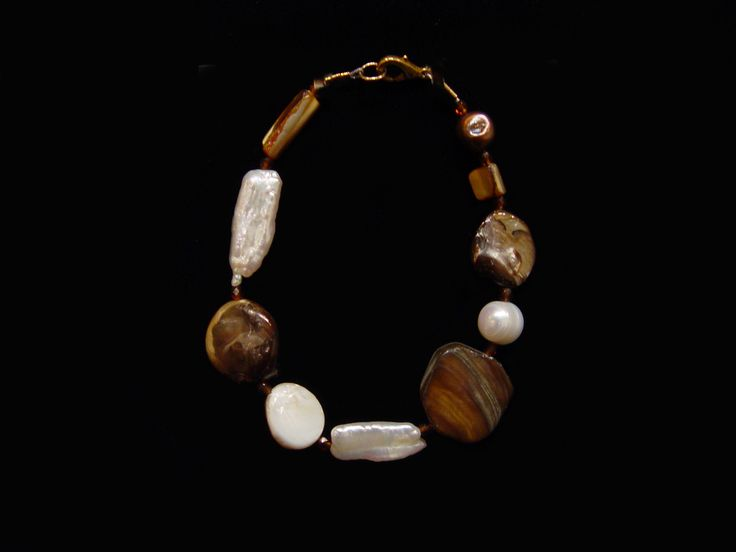"""Shell, Pearl and Crystal Bracelet. By Debbie Aldrich. 8.5""""."""
