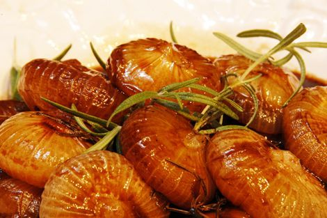 Cippolini Onions Roasted with Balsamic Vinegar and Honey. This is to die for...make it constantly....great side dish for anything!!
