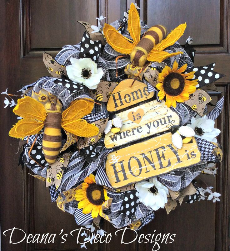 Spring Deco Mesh Wreath, Bee Spring Wreath, Black and White Wreath, Sunflower Wreath, Spring Wreath, Bee Wreath, Spring deco mesh wreath by DeanasDecoDesigns on Etsy