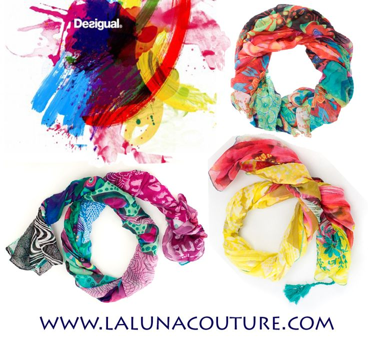 Give your accessories collection a punch of color with our bright and beautiful selection of Desigual women's scarves! Shop online now!  http://www.lalunacouture.com/desigual_clothing_s/1842.htm  #desigual #scarves #infinity #accessories #fashion