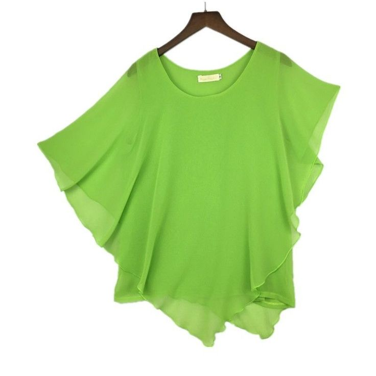 Plus size S-6XL Ladies Chiffon Blouses Batwing Asymmetric Sleeves Lime Shirt #Unbranded #Blouse #Casual