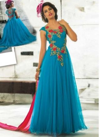 Sky Blue Embroidery Work Net Party Wear Gown