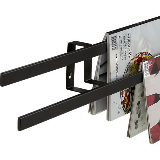 Cb2 parallel wall mounted magazine rack 58 quot w x 4 5 quot d x 4 5 quot h 99