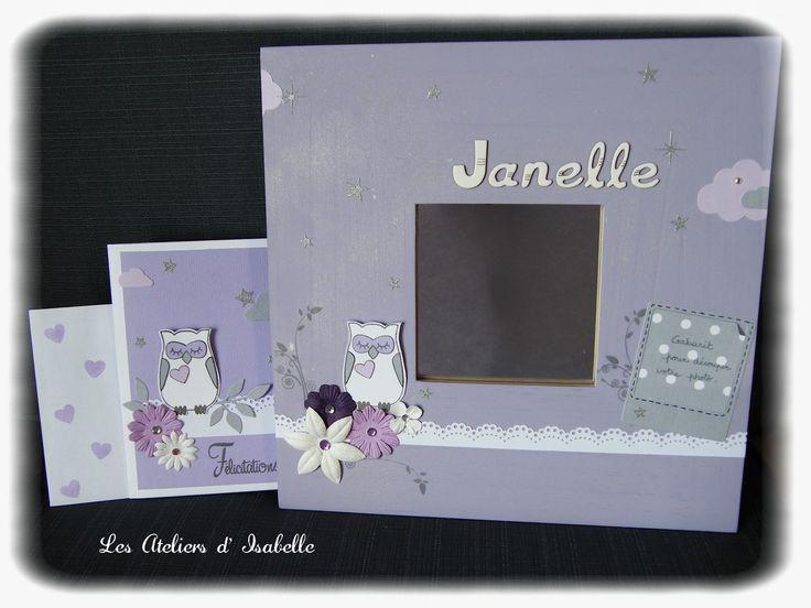 Cadre miroir personnalisé. Cadeau de naissance original avec sa carte assortie. mauve, blanc et argenté. fleurs, chouette / hibou, nuages et étoiles.