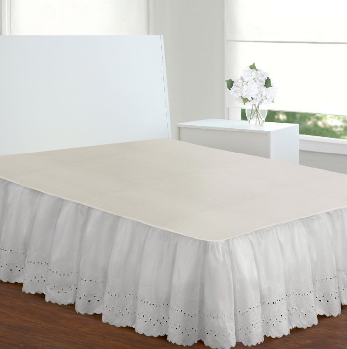 Ivory Bed Skirt Queen Size Dust Ruffle Eyelet 14 Inch Drop Cotton Poly Blend New #Unbranded #RuffledEyelet
