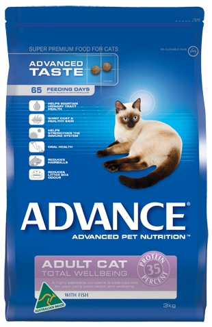 Total Wellbeing, ADVANCE. Highest Quality Australian Fish. Helps strengthen the immune system, contributes to a shiny coat and healthy skin, reduces litter box odour, reduces hairballs, helps maintain urinary tract health and oral health.