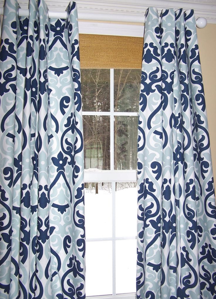 """NEW!  CURTAINS Premier Fabric Custom Curtain Panel 50""""Wide Rod Pocket Dark Blue, Light Blue and White by Cathyscustompillows on Etsy https://www.etsy.com/listing/200505287/new-curtains-premier-fabric-custom"""