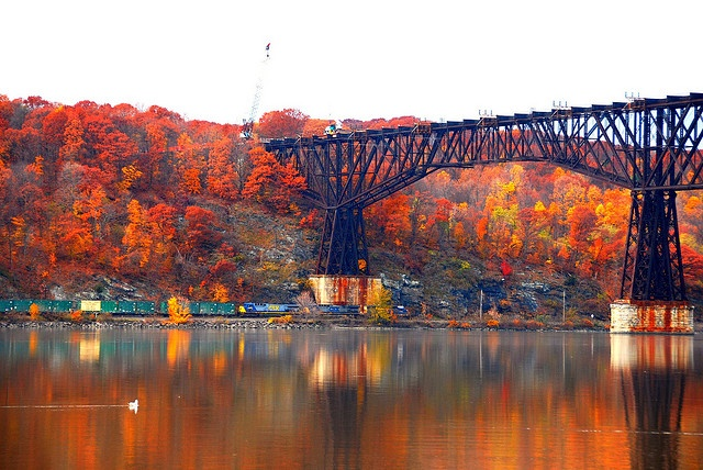 """The old railroad bridge that is now a State Park called """"Walkway over the Hudson"""".  Best time to walk the bridge is in the Fall.  Magnificent foliage!"""