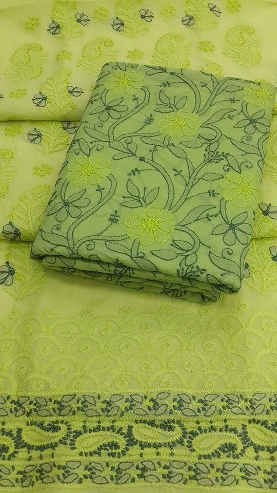 Lucknow Chikan Online Suit Length 3 piece Neon Green Cotton $104