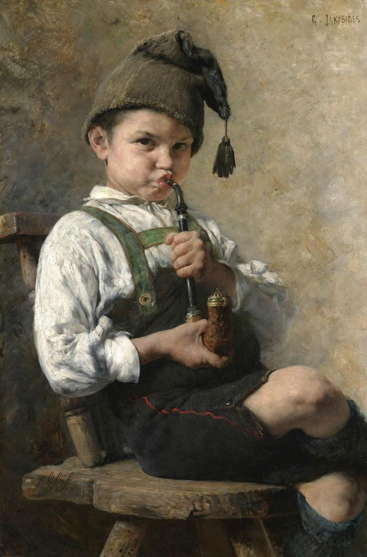 by Georgios Jakobides (Greek 1853-1932).....most likely a German boy as the artist spent much of his career there....