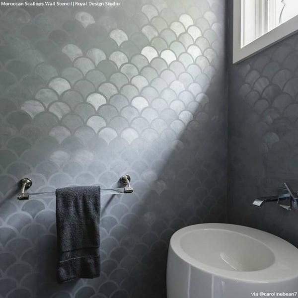 Our Moroccan Scallops Wall Stencil is ageometricfish scale designthat is a classic pattern with a modern feel. This stencil includes a FREE ceiling filler st
