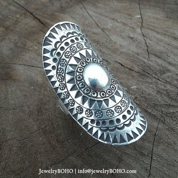 BOHO-Gypsy ring-Hippie ring-Bohemian ring-Statement ring R014 JewelryBOHO-Handmade sterling silver BOHO Tribal ring