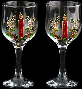 Pair of Wine Glasses in Celtic Christmas Design