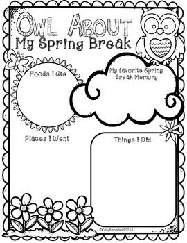 "Owl About My Spring Break Posters.  These posters are a perfect way for your students to share about their spring break!  As simple as ""print and use.""  $"
