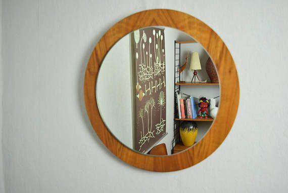 Round Mid Century mirror / wall mirror / hall mirror 60s