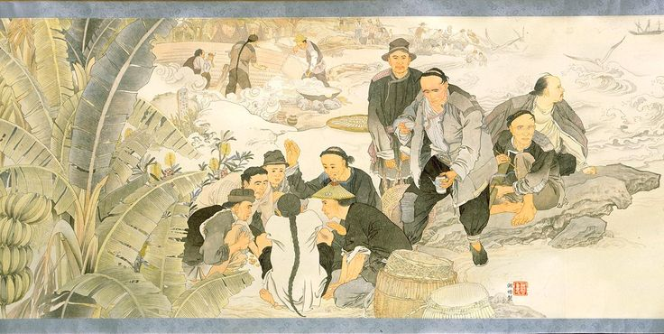 This scene depicts Chinese men sitting in groups. Some appear to be deep in thought, perhaps homesick for the families they left behind