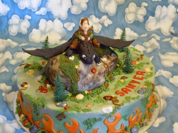 Toothless dragon Cake I made for nephews birthday