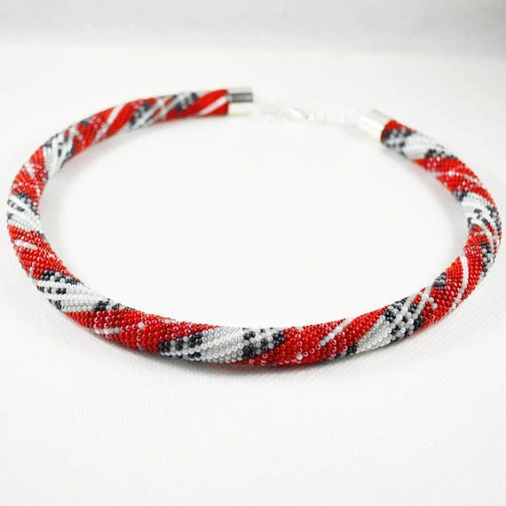 Red Scottish Tartan necklace Seed beads crochet rope beaded