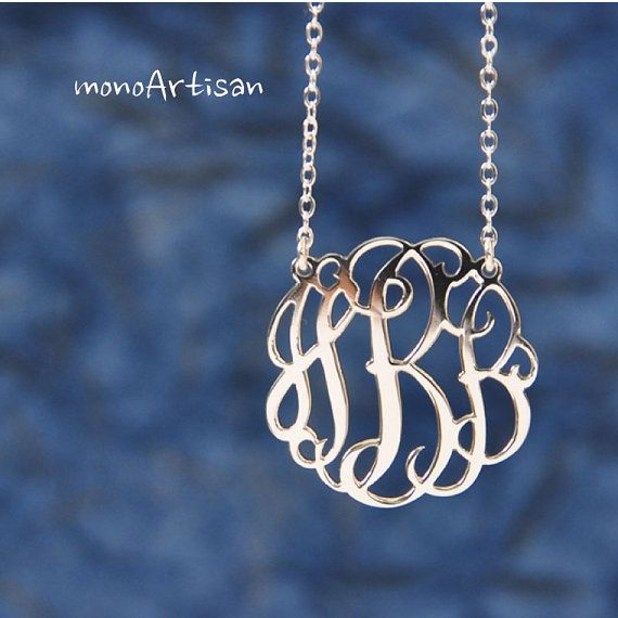 Monogram Necklace-1inch Initial Necklace  Silver monogram neclace Hand Sketch& Hand Craft on Etsy, $64.00