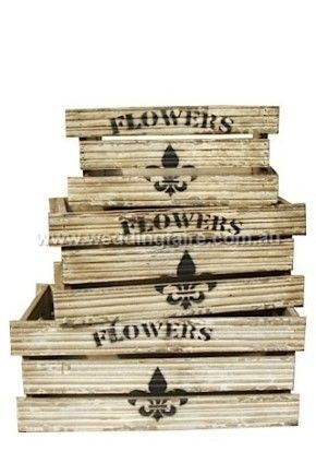 Wooden Flower Box - Set of 3 - The Wedding Faire