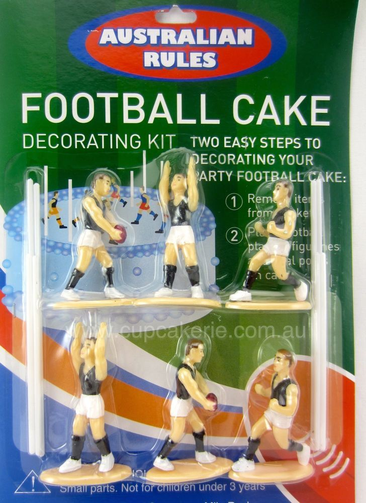 Aussie Rules FootBall Team 14pc Plastic Cake Topper Set Players Goals AFL NEW