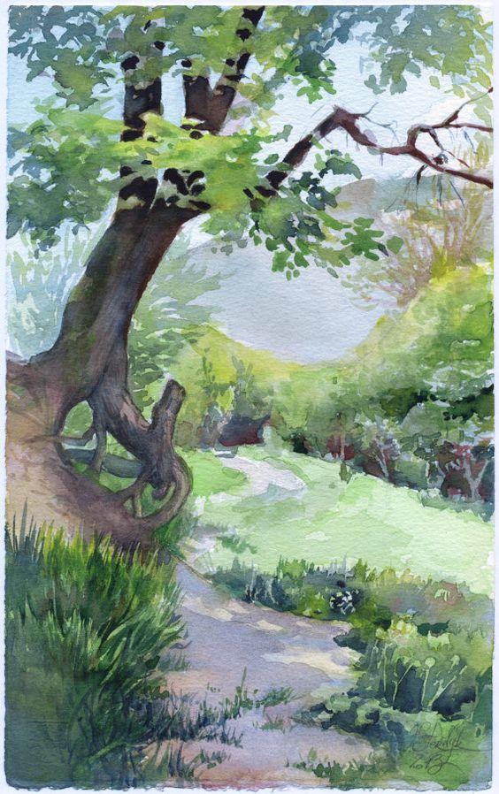 Tree watercolor painting original wood painting by OlgaSternyk: