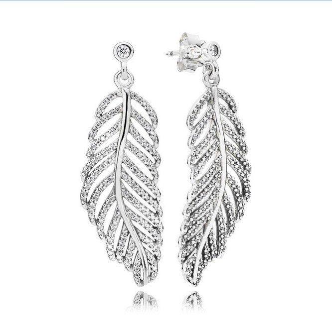 feather earrings silver metal elegant