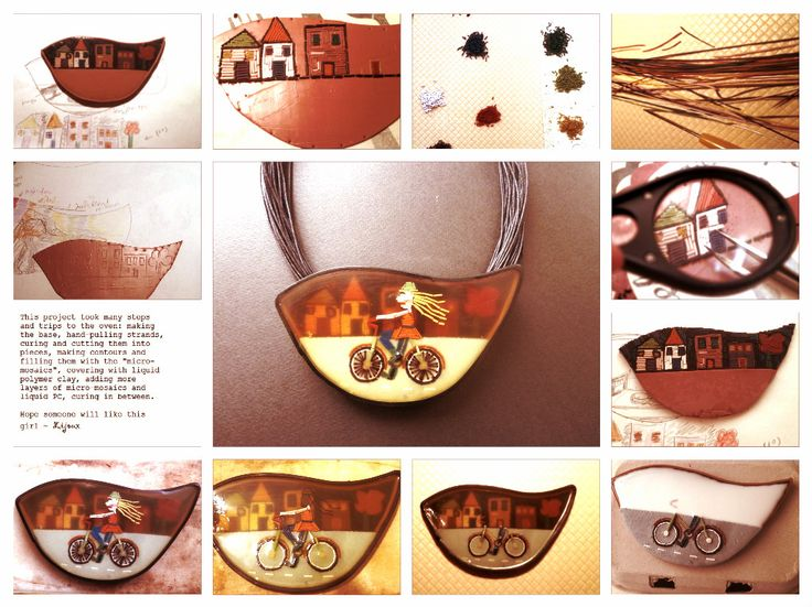 <Micro-mosaic girl on bicycle polymer clay necklace>