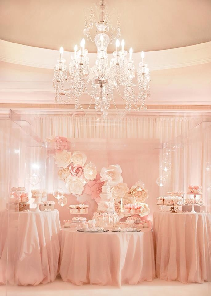 pink and gold sequin baby shower  | pink dessert table, would be stunning for a bridal or baby shower ...