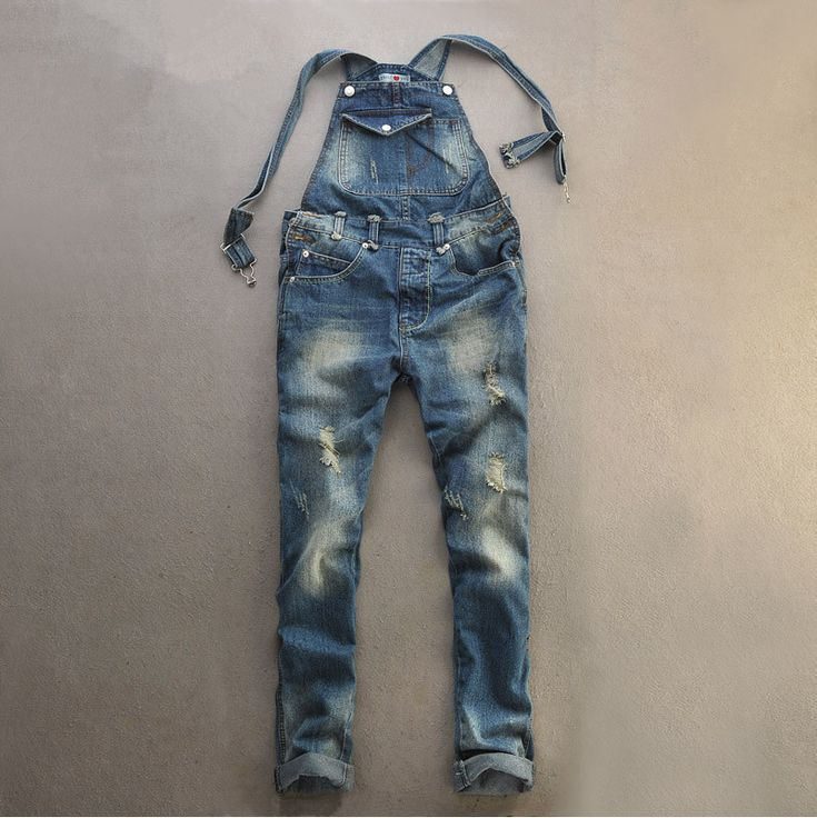 jeans plus size bib overalls ripped jeans for men Vintage hole fashion skinny detachable suspenders mens overalls fashion