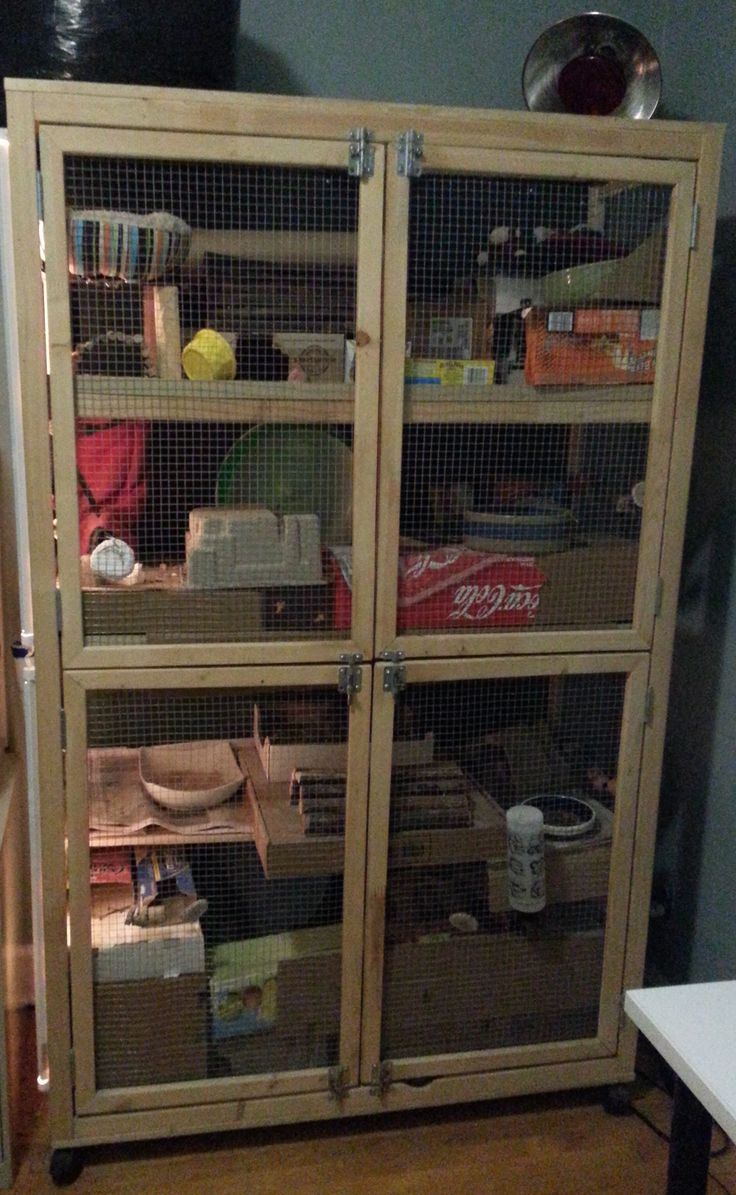 Home made cage (I use it for Degu's) split in the middle