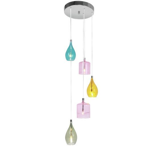 Buy Premier Housewares 5 Pendant Light - Multicoloured at Argos.co.uk - Your Online Shop for Ceiling and wall lights, Lighting, Home and garden.
