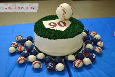 Atlanta Braves Baseball Cake & Cakeballs  An Atlanta Braves Baseball Cake for Granny's 90th Birthday! | Wee Share