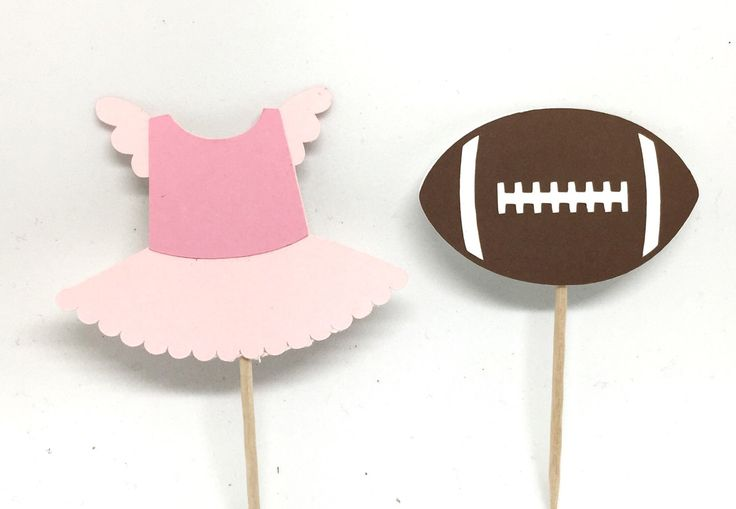 Touchdowns or Tutus - Cupcake Toppers - Pink Vs Blue - food Picks - Party Decor - Gender Reveal - Baby Shower - Football Theme - by MyCutieBows on Etsy https://www.etsy.com/listing/501210546/touchdowns-or-tutus-cupcake-toppers-pink