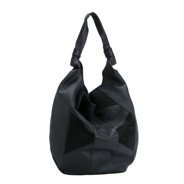 Leather slouch bag from the FRIDA range by Carpisa, with a wide zip opening for storing all of your items. A simple but striking bag to suit all occasions.