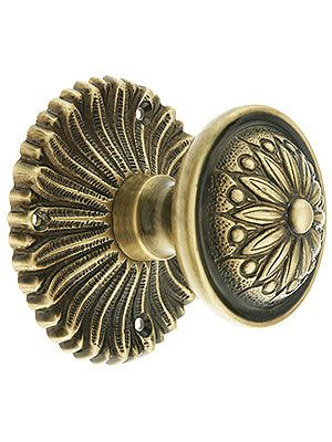 Hollywood Regency doorknob in antique brass