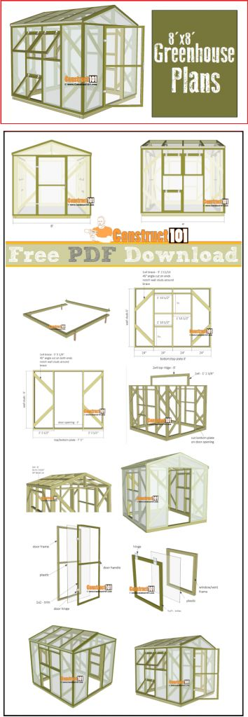 Greenhouse plans, 8'x8', free PDF download, cutting list, and shopping list.