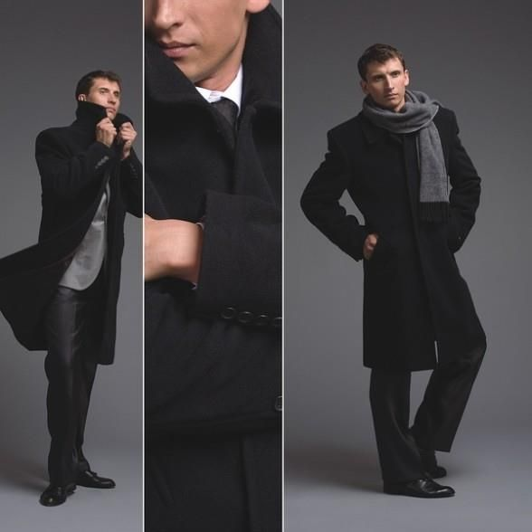 Как носить классическое мужское пальто с шарфом