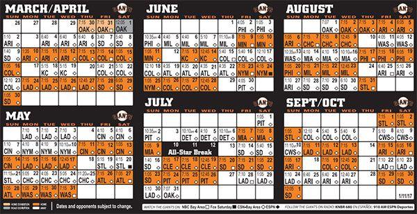 Giants 2017 Schedule