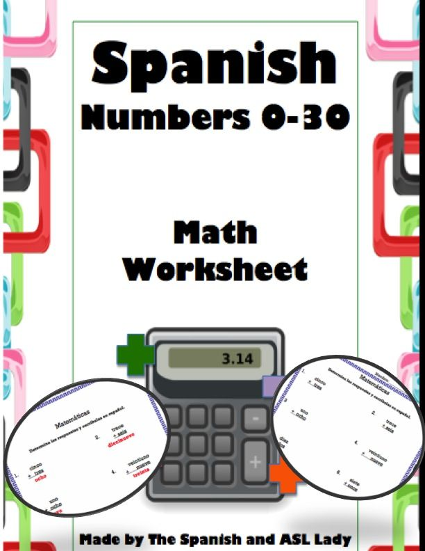 spanish numbers 0 30 math worksheet spanish student and math. Black Bedroom Furniture Sets. Home Design Ideas