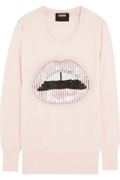 Shop now: Candy stripped Lara lip sequined cotton sweater