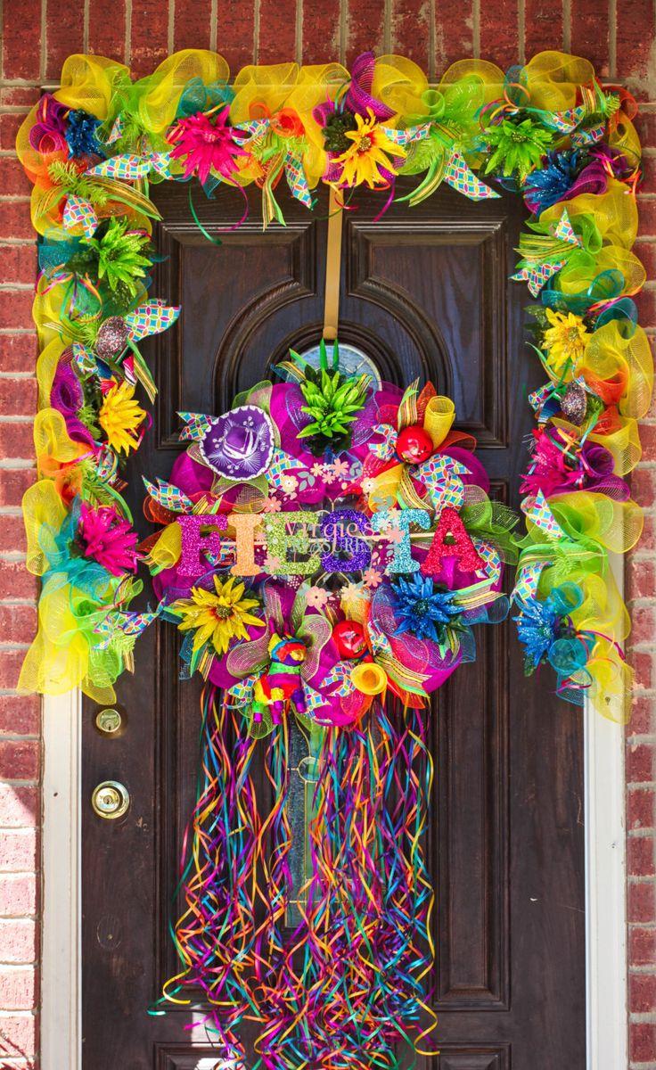 Viva Fiesta Deco Mesh Wreath by VirgiesTreasures on Etsy
