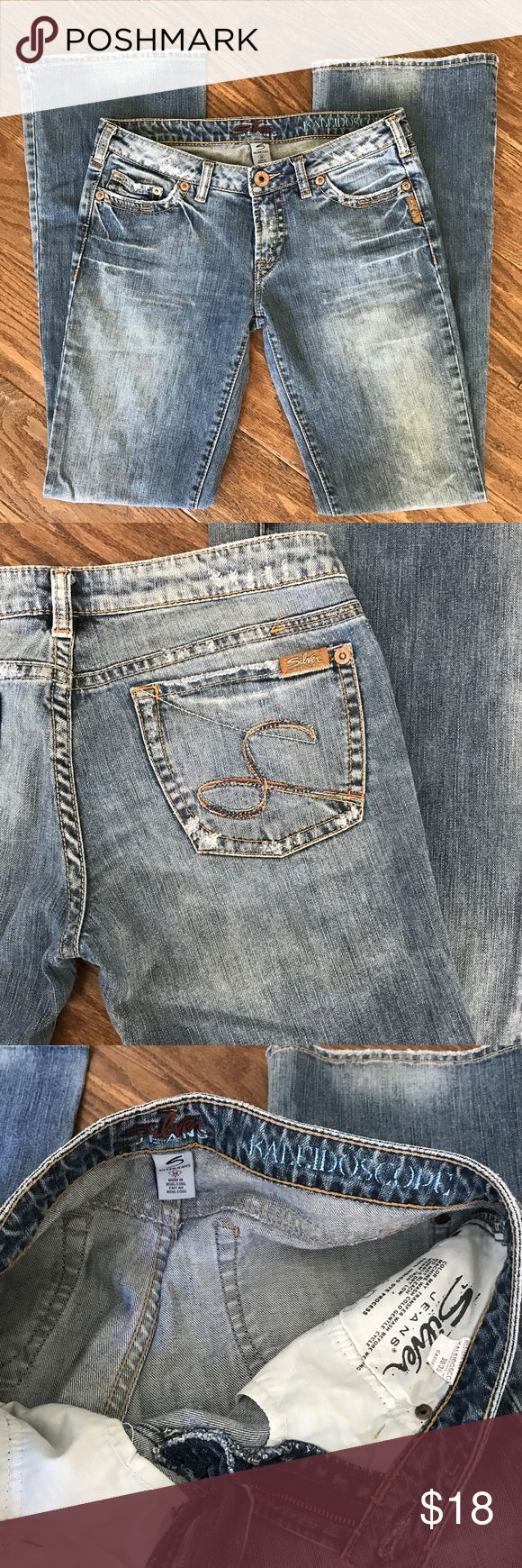 Silver Jeans Kaleidoscope 30 womens Jeans size 30 Excellent condition women's jeans size 30/35. When measured the inseam is 34 inches even though the sizing label says 35. Silver Jeans Jeans Boot Cut